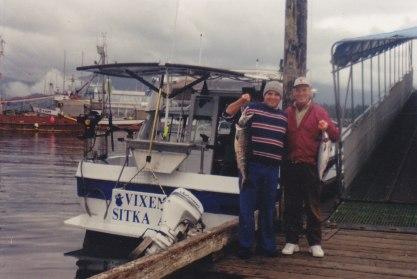 August 2000, Sitka, Alaska, Michael, his fish 15lb.34in., Jerry & Nancy's fish(borrowed)