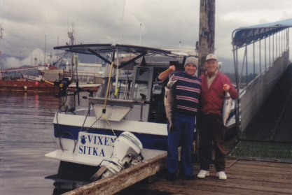 August 2000, Sitka, Alaska, Michael, his fish 15lb.34in., Jerry & Nancy's fish(borrowed)